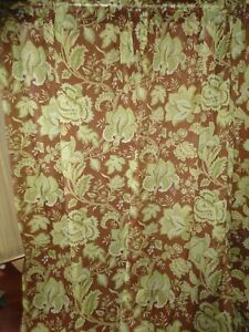CROSCILL DISTRICT BROWN GREEN FLORAL JACOBEAN SHEER (2) PANELS CURTAINS 48 X 85 | eBay