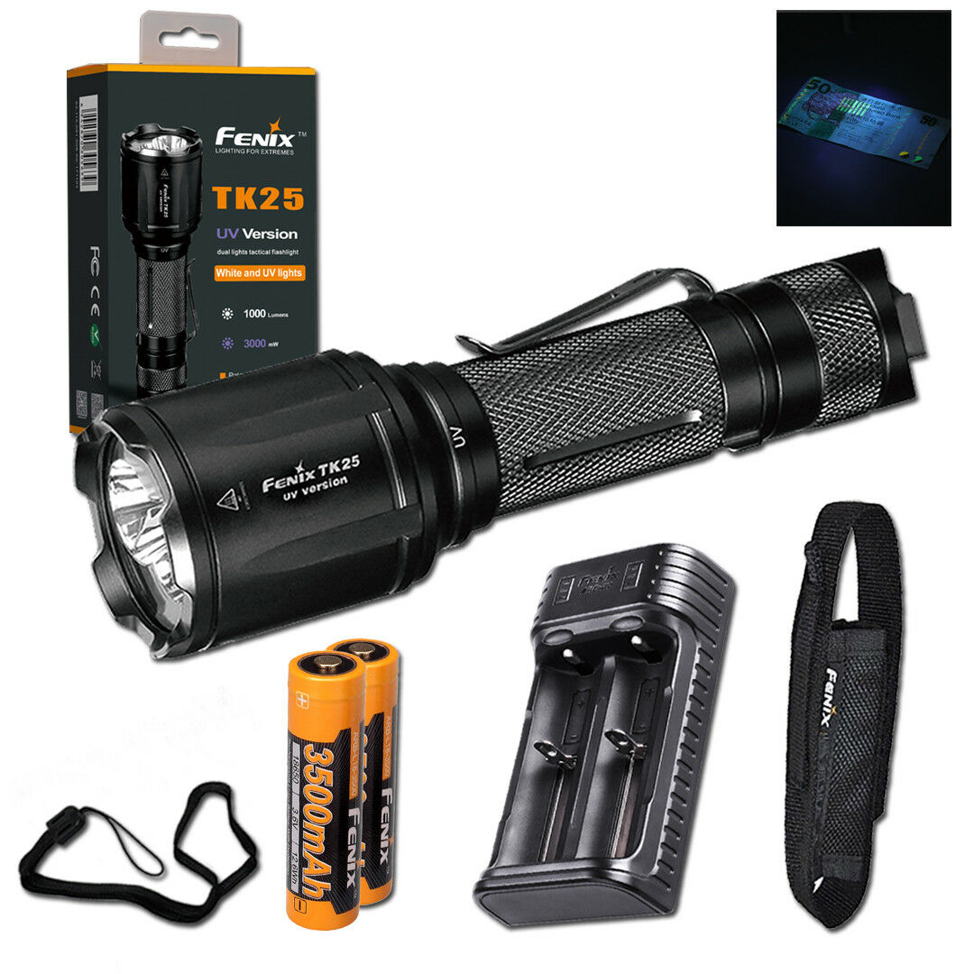 Fenix TK25UV 1000lm Tactical UV Flashlight + 2x Rechargeable Batteries & Charger