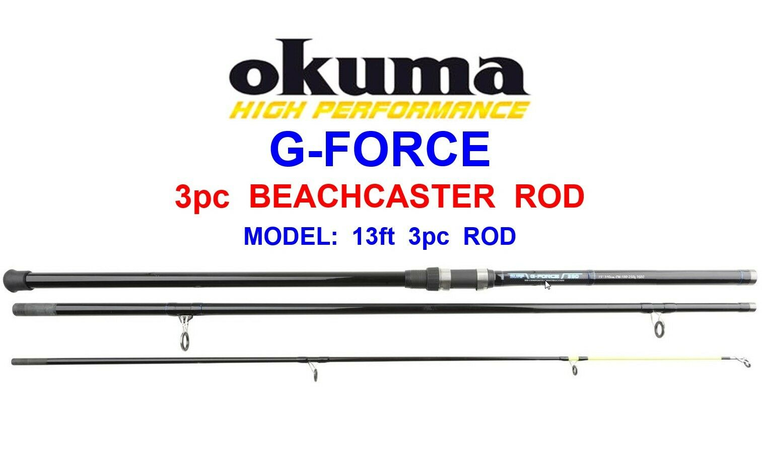OKUMA 13ft 3pc BEACHCASTER ROD FOR SEA SURF FISHING COD BASS PIKE RIGS LURES