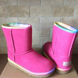 32338e9efe9 Details about UGG Classic Short II Rainbow Pink Azalea Suede Youth Kids  Girls 4 = Womens US 6
