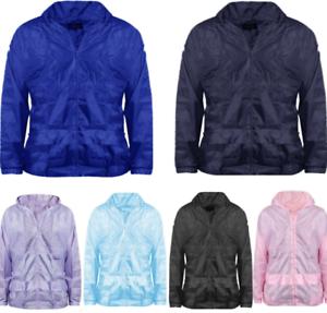 shelikes Kids Girls Hooded Lightweight Zipped Neon Festival Jacket Kagool Mac