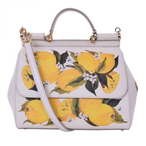 DOLCE /& GABBANA Dauphine Leder Tasche SICILY mit Zitronen Print Weiß Gelb 09002