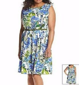 Details about GABBY SKYE® Plus Size 18W Periwinkle Pleated Floral Belted  Dress NEW $98