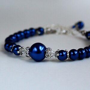 Midnight-blue-vintage-pearls-crystals-beaded-bracelet-wedding-bridesmaid-gift