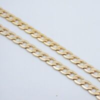 """20"""" 7MM MENS GOLD EP CUBAN LINK NECKLACE CHAIN"""