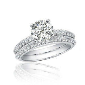 e1721e009 Platinum Bridal Ring Set 5.50 Carat Round Shape Diamond Halo Pave ...