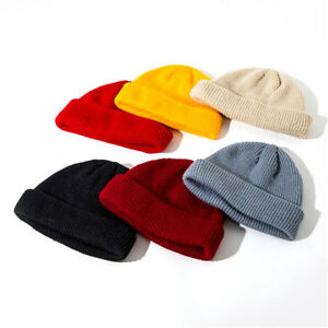 Fisherman Beanie Knitted Ribbed Hat Retro Vintage Mens Womens Cap