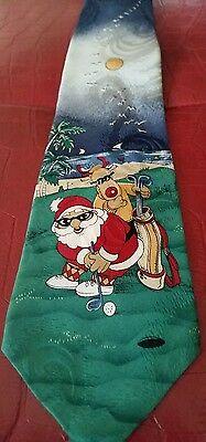 Surrey Christmas Tie Golf Santa Rudolph Sun Birds Palm Trees Beachside 100% Silk