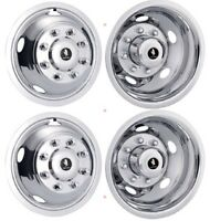Dodge Ram 3500 17 Dually Chrome Wheel Simulators Dual Skins Liners Covers Set 4