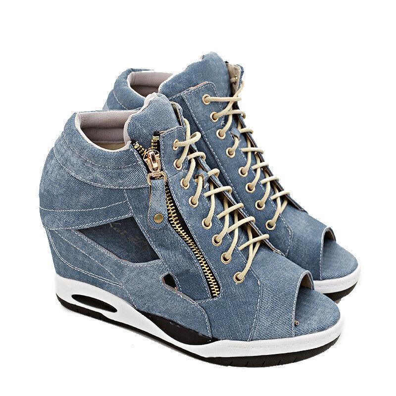 Korean femmes Hidden Wedge Heels Sandales lacets DENIM Bout Ouvert Fermeture Éclair Chaussures NOUVEAU