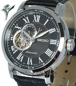 New-SEIKO-CLASSIC-AUTO-SKELETON-BLACK-FACE-LEATHER-BUCKLE-STRAP-SSA233K1