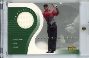 2001 Upper Deck Golf Tiger Woods RC Rookie Tour Threads Golf Shirt Relic TT-TW