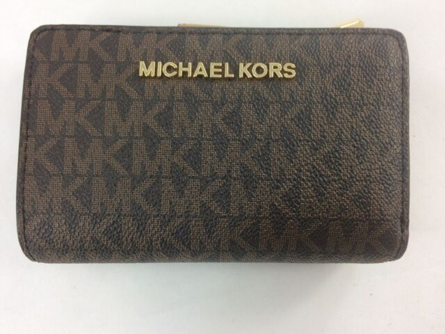 5824057c6098 Michael Kors Jet Set Signature Leather Brown Acorn Bifold Zip Coin Wallet  Mkp11