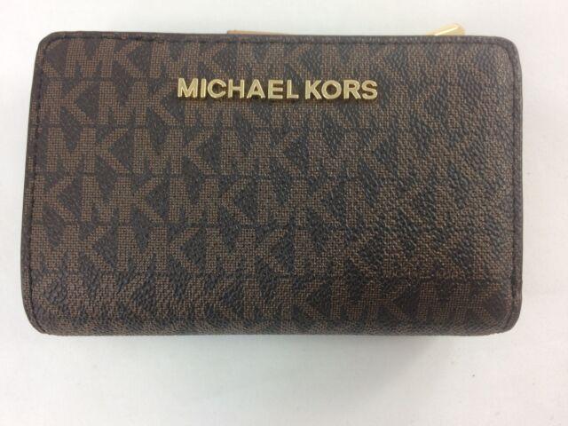 bbc2c3e0b935 Michael Kors Jet Set Signature Leather Brown Acorn Bifold Zip Coin Wallet  Mkp11. +. $69.97Brand New