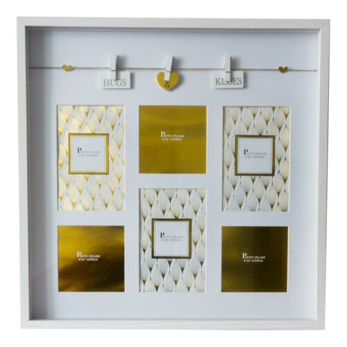 """Wooden Box Style Picture Photo Frame 4/""""x6/"""" With Decorative Washing Line Pegs"""