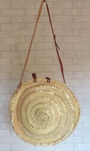 Moroccan Handmade Straw Beach Bag with Gold Sequins