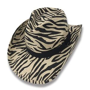 df2e9701055 Cowboy Cowgirl Hat ZEBRA Stripes Rodeo Western One Size West Garden ...