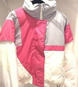 Vintage Profile Goose Down Ski Snow Puffer Bomber Jacket Size Medium White Pink