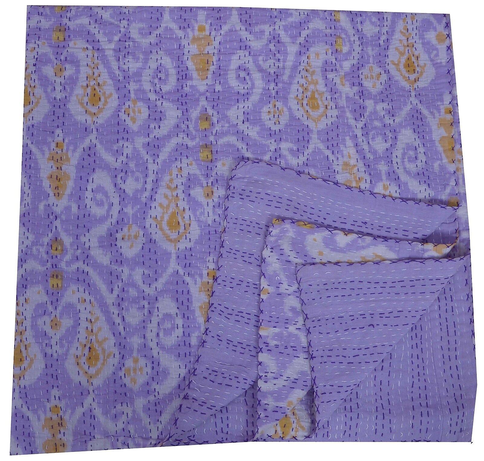 Indian Ikat Paisley Kantha Quilt Königin Cotton Throw lila Bettspread Blanket