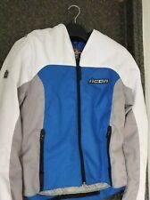 ICON DEVICE MEN'S RIDING JACKET BLUE / WHITE / GRAY TEXTILE LARGE NEW WITH TAGS