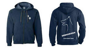 Doberman Pinscher Hoodies & Sweatshirts Dobermann Full Zipped Dog Breed Hoodie Exclusive Dogeria Design Demand Exceeding Supply