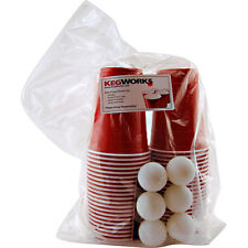 Beer Pong Party Kit - 44 Red Plastic Cups & 6 Balls - Bar Event College Drinking