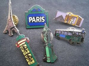 Lot-6-pin-039-s-Paris-tour-eiffel-Arc-triomphe-bus-Arche-defense-Tourisme-Monuments