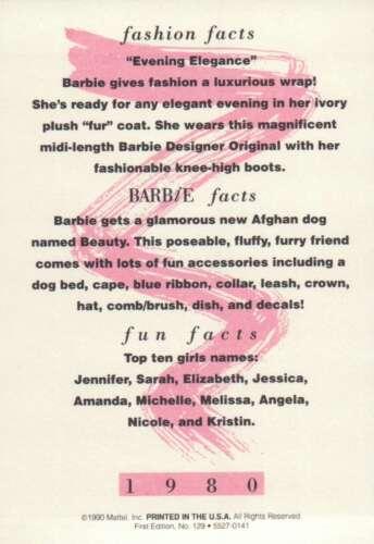 """Lote de 5 Barbie Trading cartões cartões de 1980 e 1981 agradável medem 5 /""""x 3 1//2/"""""""