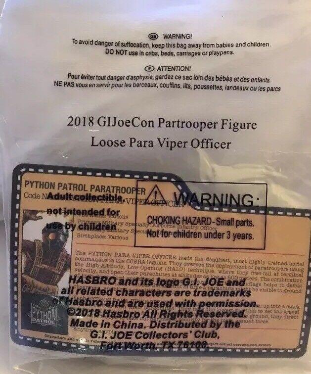 Joecon 2018 gijoe Convention Python Patrol parachutiste para Viper Officer en Sac