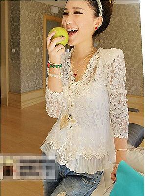 New Ladies Women Chiffon Lace Casual Blouse Long Sleeve shirt Tops