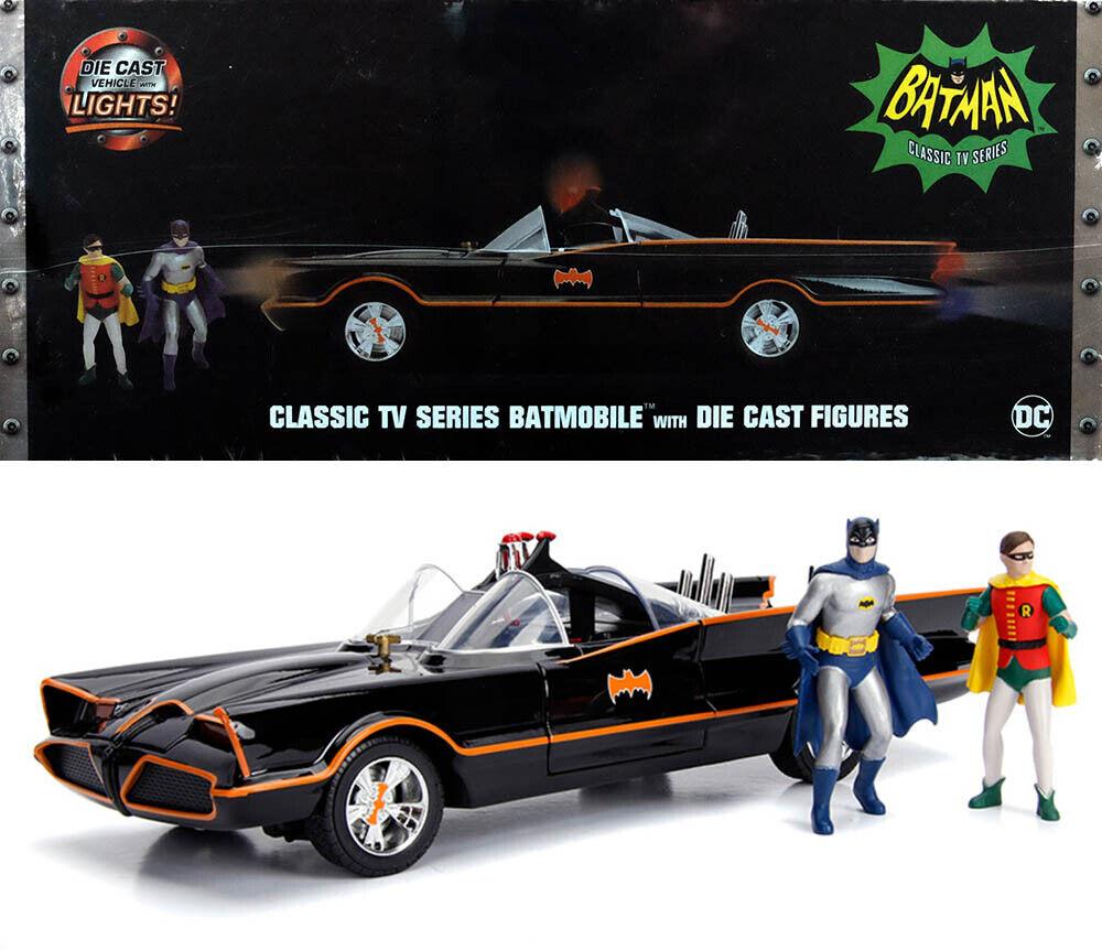 1966 Batmobile Batman Classic TV Series + personnages + Lights 1 18 Jada Toys 98625