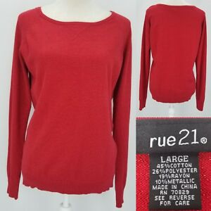 139392a436a Image is loading Rue21-Juniors-Womens-Large-Red-Metallic-Sparkle-Boat-