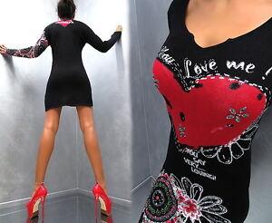 Unique-Kristall-Schwarz-Neu-Elegant-Sexy-VIP-Damen-K33-Top-Dress-Kleid-L-XL