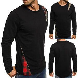 Fashion-Men-Casual-Long-Sleeve-Shirts-Slim-Fit-Shirt-Tops-Blouse-T-Shirt-Tee-Lot