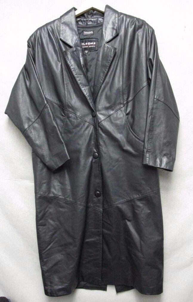 V5096 Wilson Leder Schwarz Snap Thinsulated Mantel Herren XS