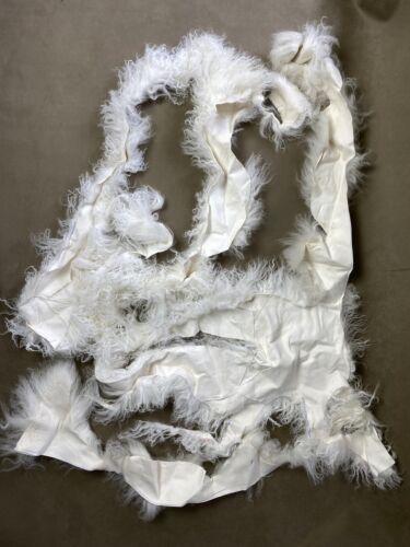 Off White Mongolian Sheepskin Fur Remnants Scraps Curly Hair Wool Dolls Wigs #9