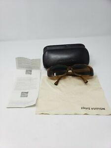 EUC-Louis-Vuitton-Sunglasses-Hand-Made-in-Italy-Brown-Frames-Sparkly-Sunglasses