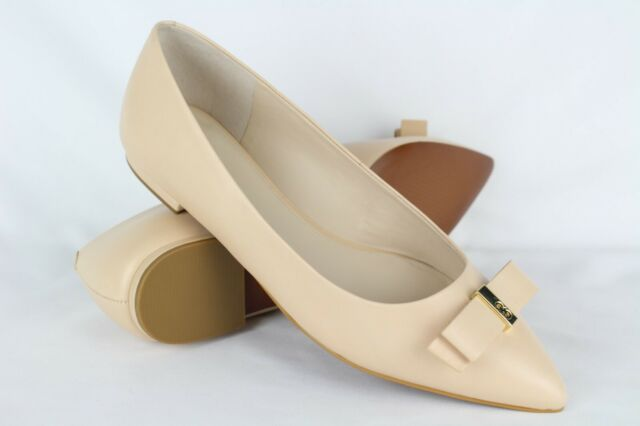 Cole Haan Elsie Leather Bow Skimmer Flat $170 NEW