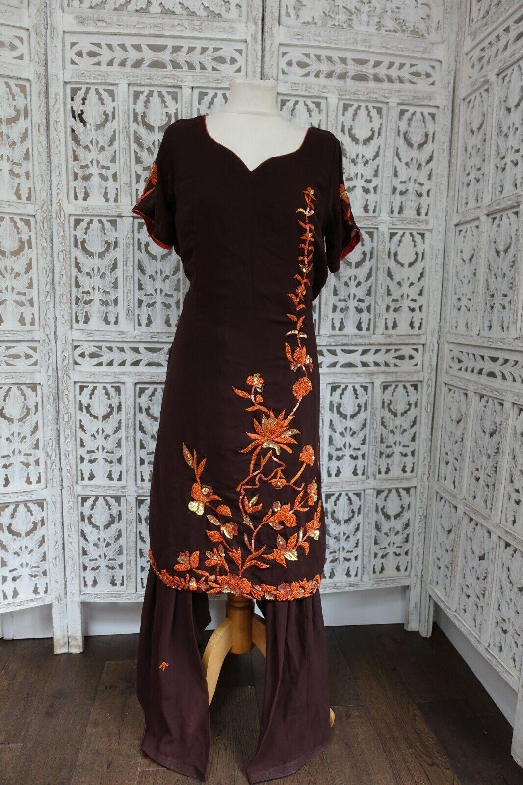 Brown Patalia Indian salwar kameez UK Size 14 / EU 40 – preloved - SKU16623
