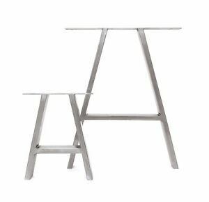 2x Industrial Welded Steel Table Legs A Frame Design Dining