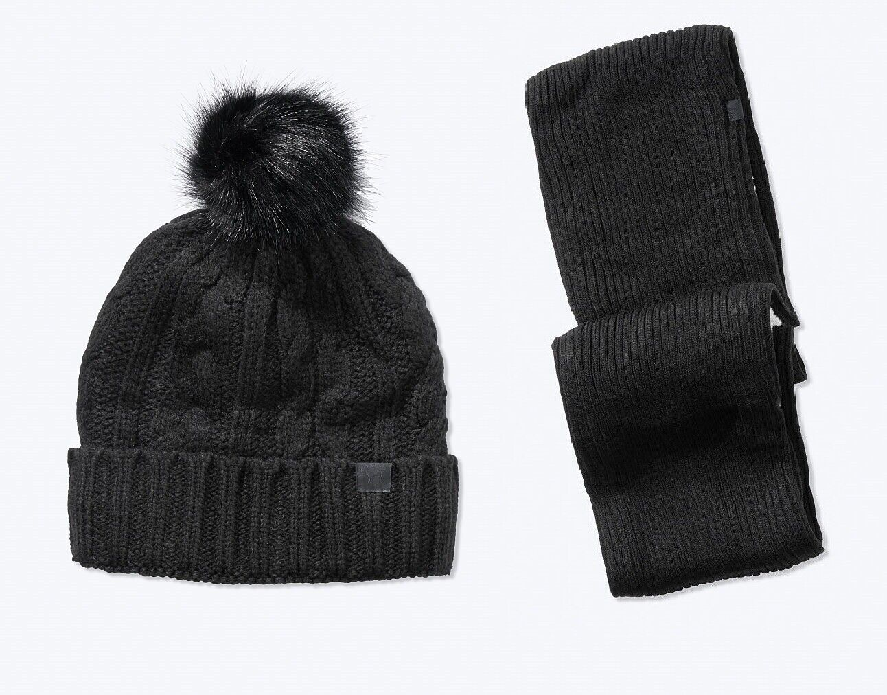 Victoria's Secret PINK Winter Sherpa Lined Hat Beanie/Scarf Set Black 2020 NEW!