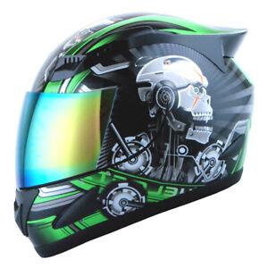 1STORM-DOT-MOTORCYCLE-STREET-BIKE-FULL-FACE-HELMET-MECHANIC-WHITE-SKULL-GREEN