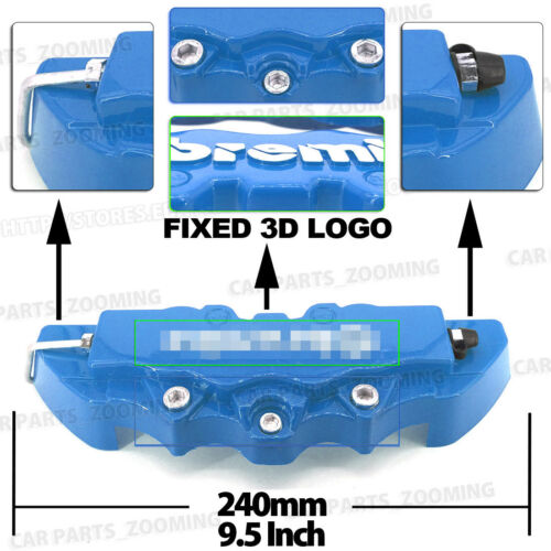 4 Pcs Blue 3D Brake Caliper Covers Style Disc Universal Car Front Rear Kits WL01