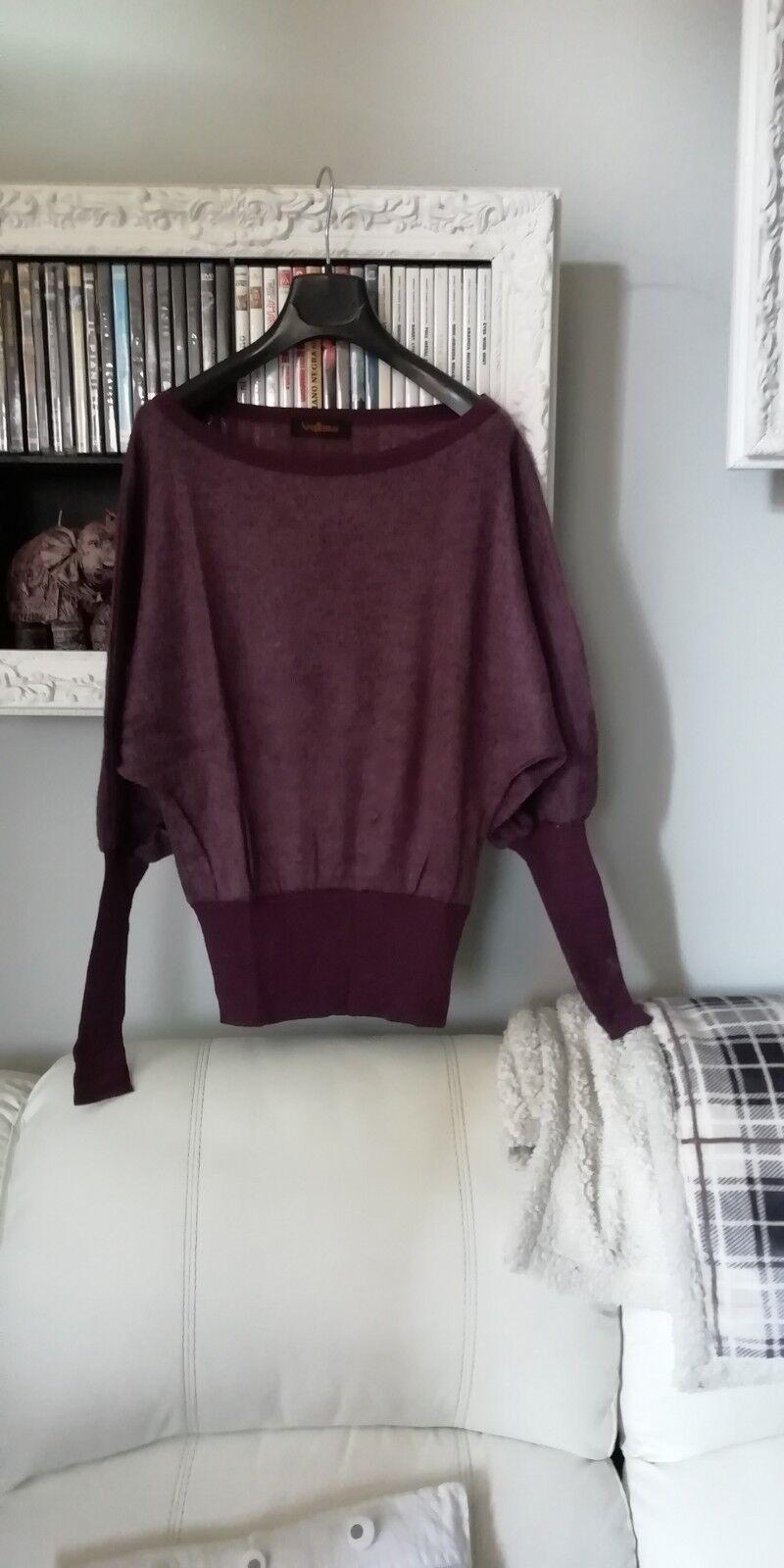 Maglione 100 % lana con maniche a pipistrello vinaccia purple maglia maglioncino