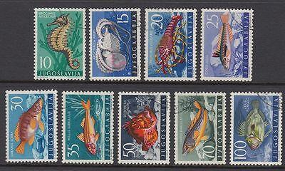 YUGOSLAVIA 1956 FISH SET (9) VFU (ID:511/D23310)