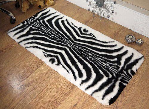 Zebra Animal Print Faux Fur Sheepskin Style Oblong Rug 70 x 140cm Washable