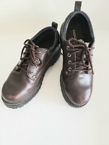 Work Boots Lace Up Brown Leather Size