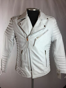 new style & luxury cheaper sale bright n colour Details about MENS GENUINE LAMBSKIN LEATHER BIKER JACKET MOTORCYCLE STYLE  WHITE (ALL SIZE) NWT
