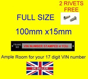 Details about STAMPED Car Trailer Chassis VIN Number plate ID MOTORBIKE  Trailer 2 FREE RIVETS