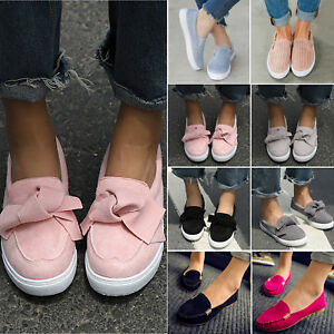 Women-Flat-Casual-Sneakers-Comfy-Slip-On-Trainers-Loafers-Plimsolls-Pumps-Shoes